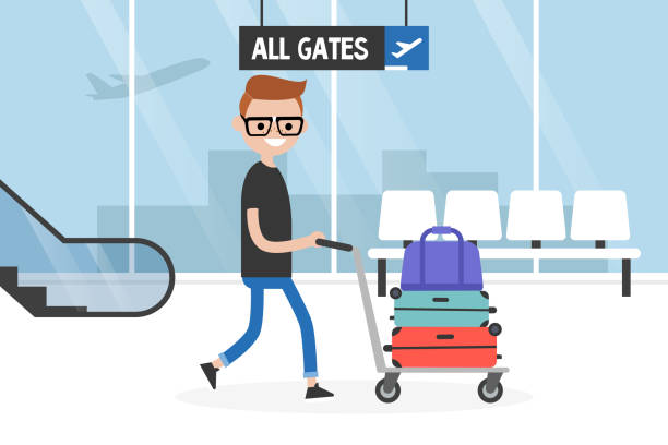 Airport. Young tourist rolling a baggage cart. Luggage trolley. Travel. Tourism. Flight. Flat editable vector illustration, clip art Airport. Young tourist rolling a baggage cart. Luggage trolley. Travel. Tourism. Flight. Flat editable vector illustration, clip art airport clipart stock illustrations