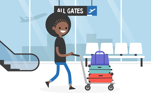 Airport. Young tourist rolling a baggage cart. Luggage trolley. Travel. Tourism. Flight. Flat editable vector illustration, clip art