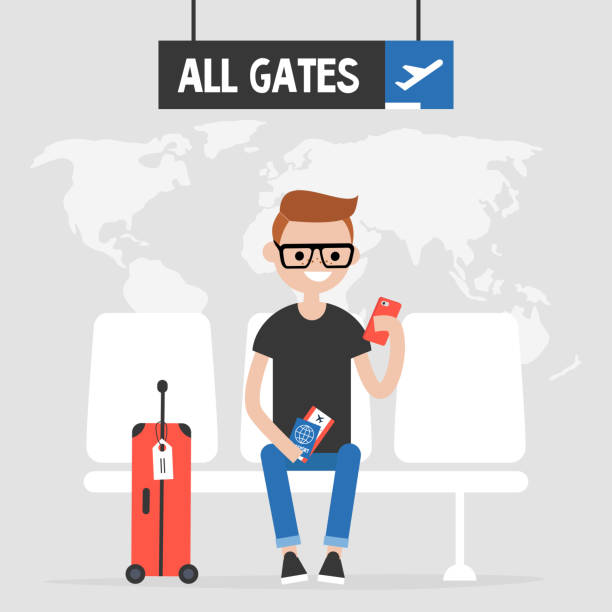 illustrazioni stock, clip art, cartoni animati e icone di tendenza di airport. young traveller waiting for a flight. flat editable vector illustration, clip art - illustrazioni su destinazioni di viaggio