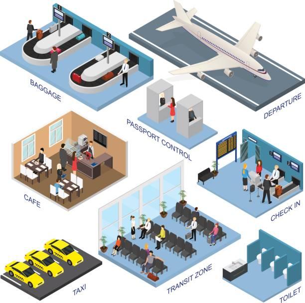 illustrations, cliparts, dessins animés et icônes de ensemble de zones de l'aéroport vue isométrique. vector - terminal aéroportuaire