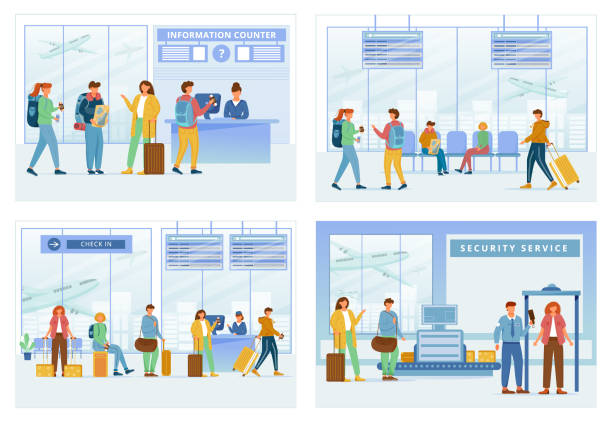 Airport zones flat vector illustrations set. Information counter, lounge area, registration, security service. Travelers in air terminal. People go through check in steps cartoon characters Airport zones flat vector illustrations set. Information counter, lounge area, registration, security service. Travelers in air terminal. People go through check in steps cartoon characters airport backgrounds stock illustrations
