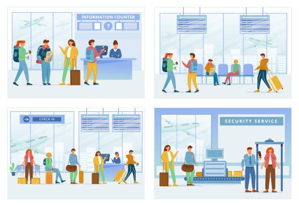 bildbanksillustrationer, clip art samt tecknat material och ikoner med flygplats zoner platt vektor illustrationer uppsättning. informationsdisk, loungeområde, registrering, säkerhetstjänst. resenärer i air terminal. människor går igenom check i steg seriefigurer - lounge