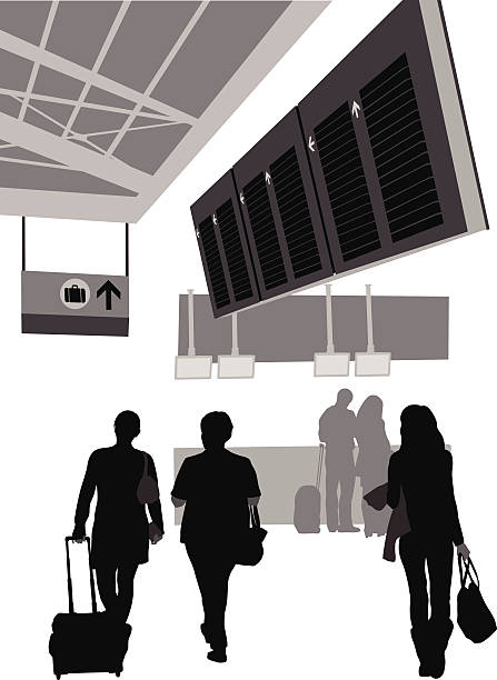 AirportCounter People walk through an airport on the way to baggage claim. airport silhouettes stock illustrations