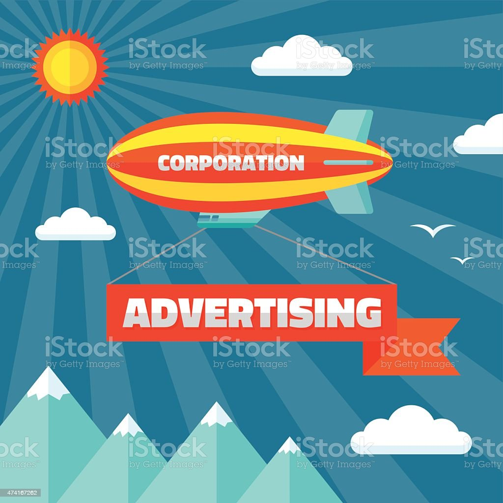 Airpship with advertising banner vector illustration in flat style vector art illustration