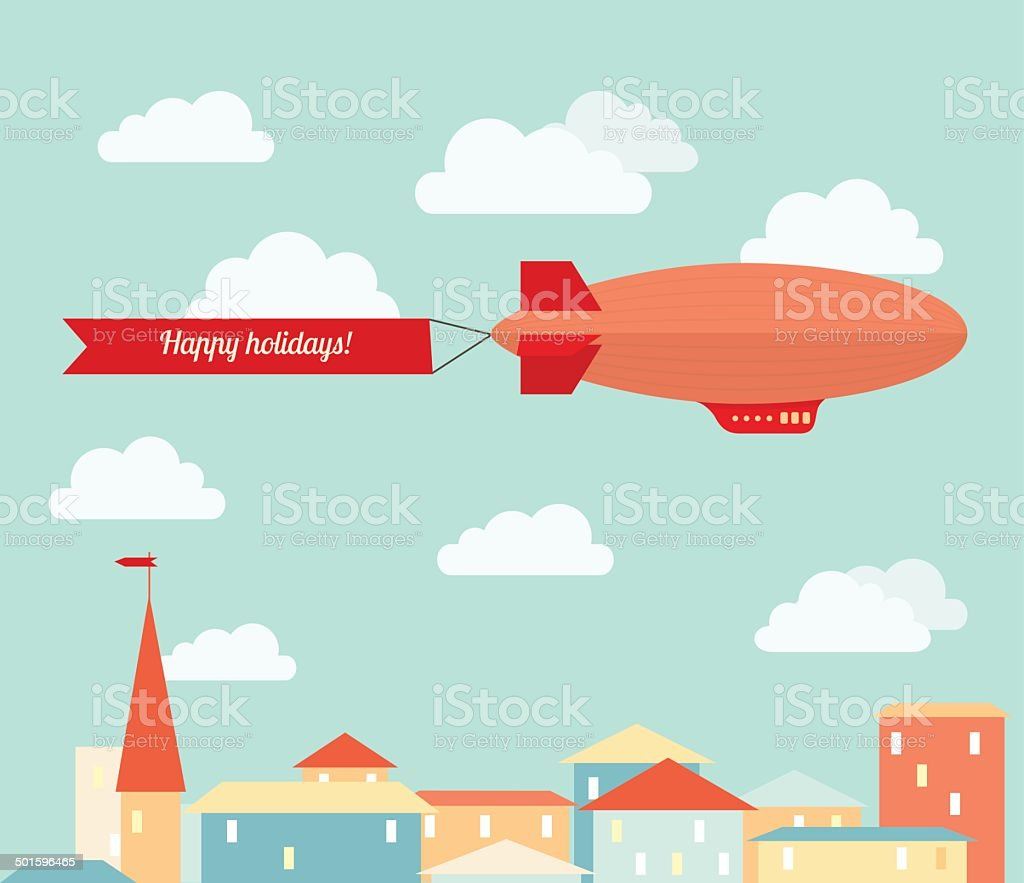 Airship in the cloudy sky vector art illustration