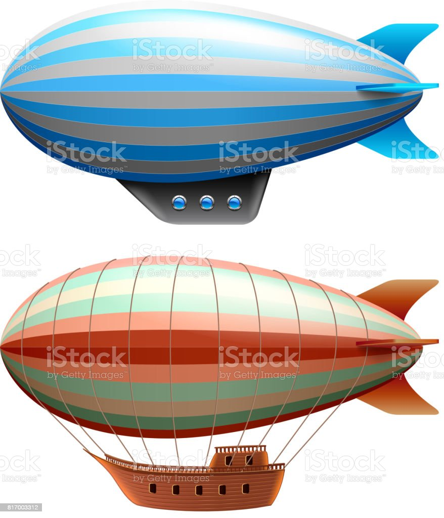 Airship isolated on white vector vector art illustration