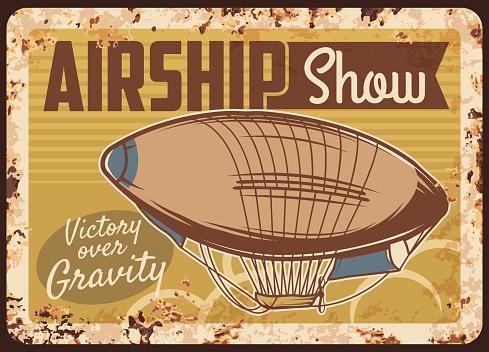 Airship show rusty metal plate, vector dirigible