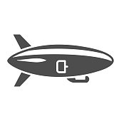 Airship solid icon, Air transport and flying concept, Air Balloon sign on white background, Dirigible icon in glyph style for mobile concept and web design. Vector graphics