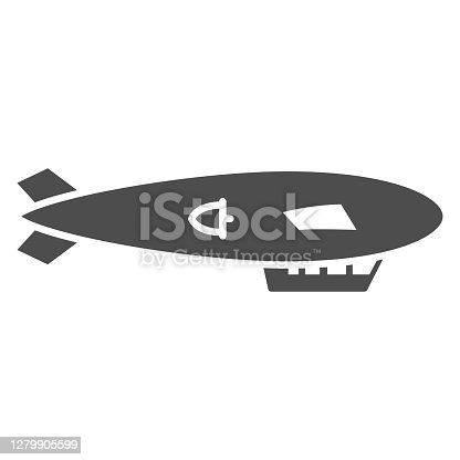 Airship solid icon, Balloon festival concept, Air transport sign on white background, Dirigible icon in glyph style for mobile concept and web design. Vector graphics
