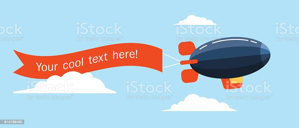Airship-Ribbon-Flat vector art illustration