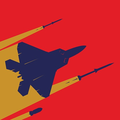 Airstrike concept. F22 raptor flying