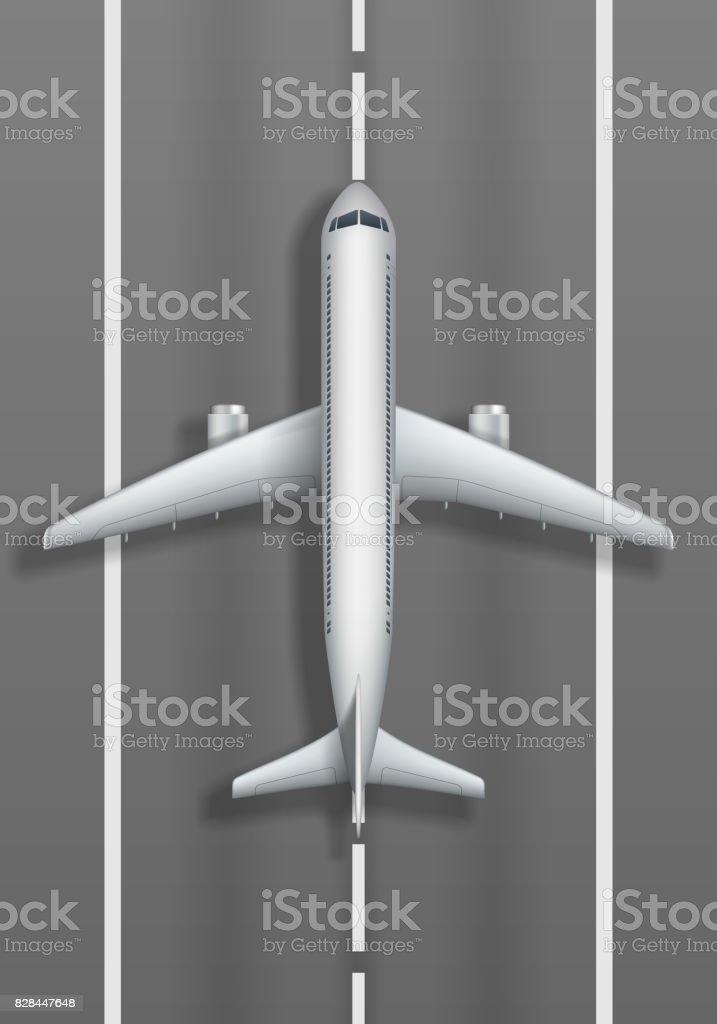 Ilustración de Pista De Aterrizaje Con El Avión Blanco Vista ...