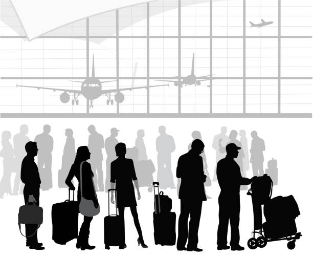 AirTravelPatients People que up at an airport terminal. airport silhouettes stock illustrations