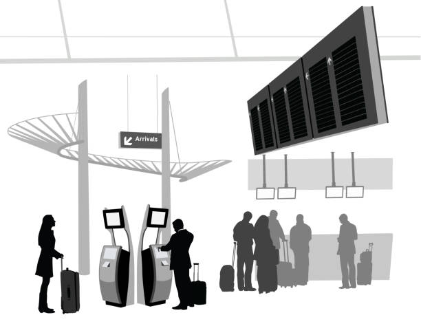 Airways A-Digit airport silhouettes stock illustrations