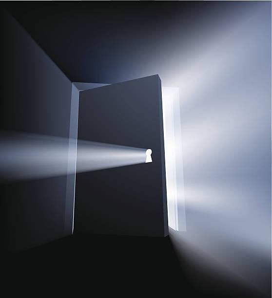 Entrouvert porte Faisceau de lumière concept - Illustration vectorielle