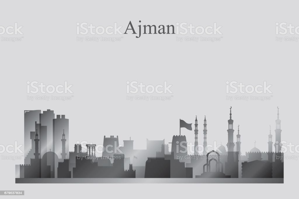Ajman city skyline silhouette in grayscale royalty-free ajman city skyline silhouette in grayscale stock vector art & more images of arab culture