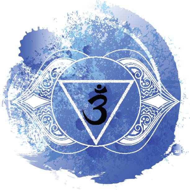 Ajna chakra line art on blue watercolor vector art illustration