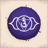 Vintage Watercolour Chakra Symbol 6. The Ajna Chakra in the middle of a two-petaled Lotus flower.