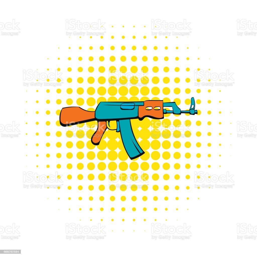 コミック スタイルで Ak47 銃アイコン ベクターアートイラスト