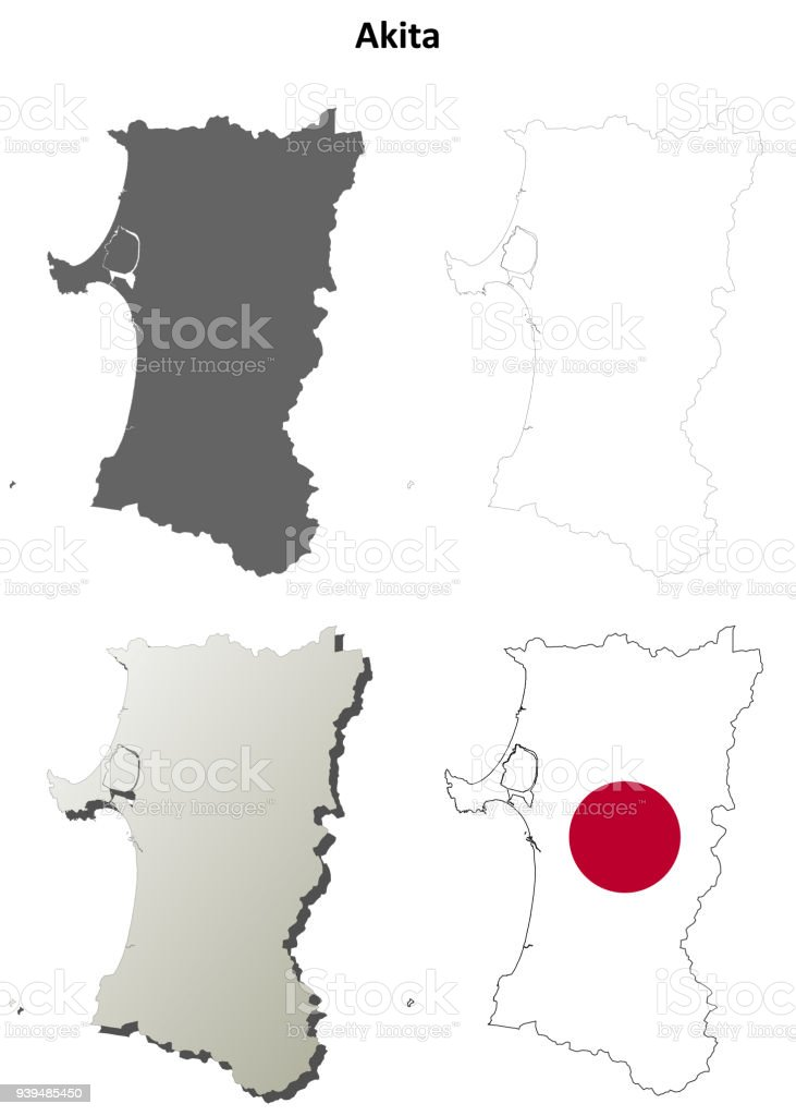Picture of: Akita Blank Outline Map Set Stock Illustration Download Image Now Istock