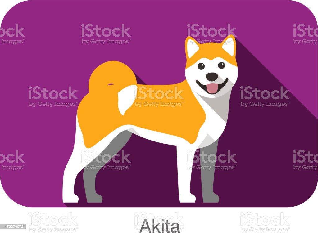 Akita, Pies stałego Ikona płaskie projektowanie – artystyczna grafika wektorowa