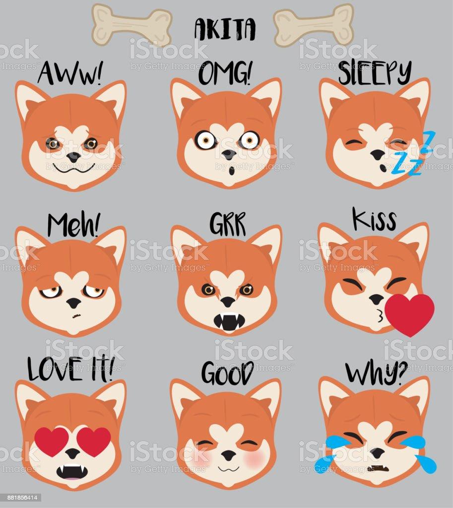 Akita Emojis Set vector art illustration
