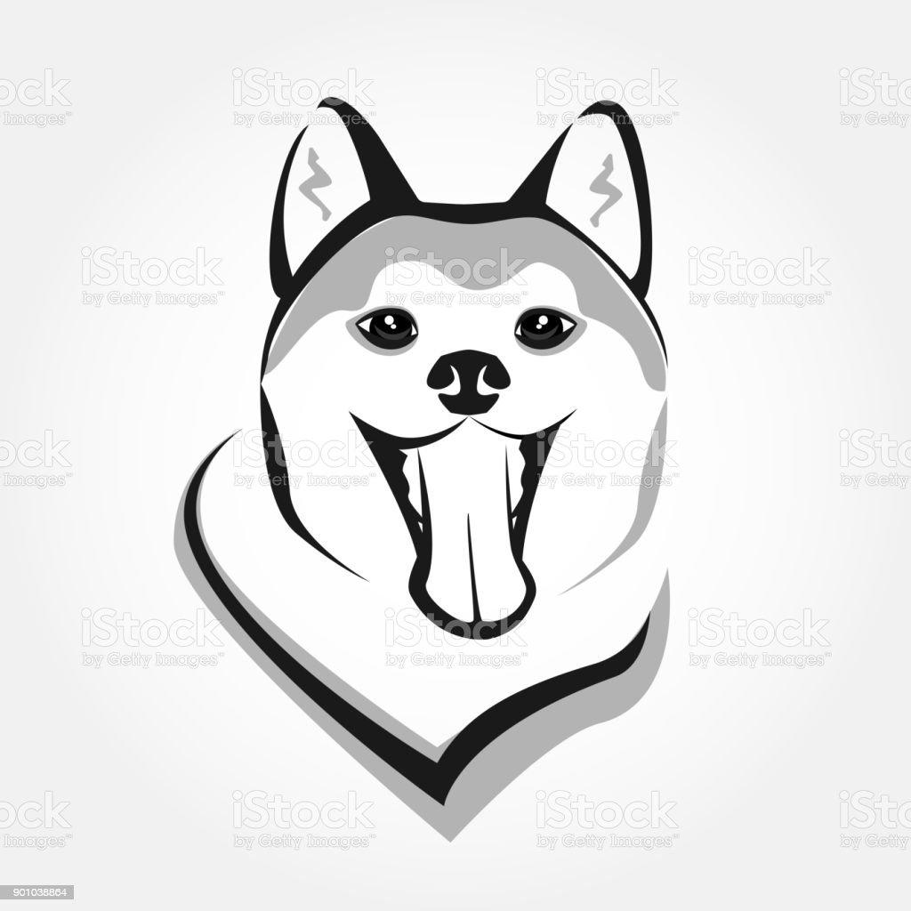 Akita head portrait vector. Dog stylized face icon. Cute smiling pet design. – artystyczna grafika wektorowa