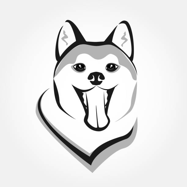 Akita head portrait vector. Dog stylized face icon. Cute smiling pet design. – artystyczna grafika wektorowa