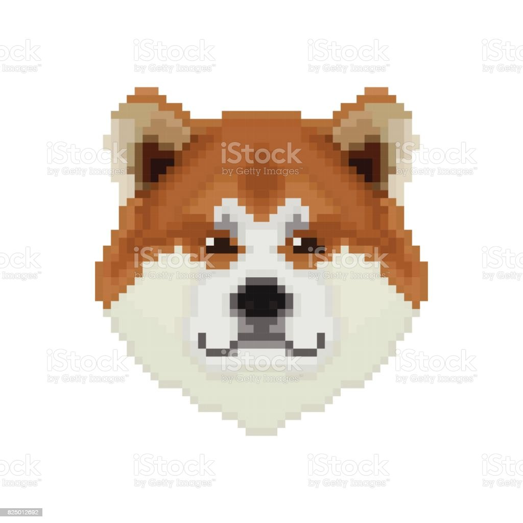 Akita Inu Dog Head In Pixel Art Style Vector Illustration