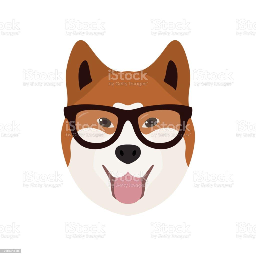Akito Inu in glasses. Cute dog – artystyczna grafika wektorowa