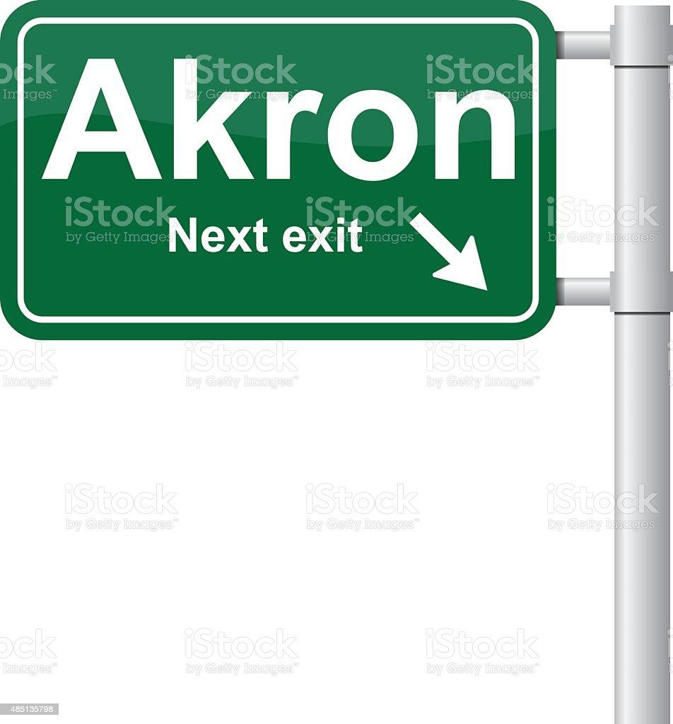 Akron next exit green signal vector vector art illustration