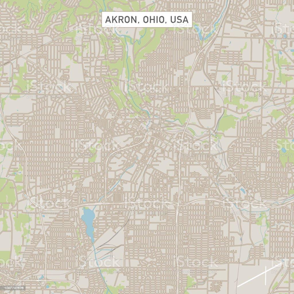 Akron Ohio US City Street Map vector art illustration