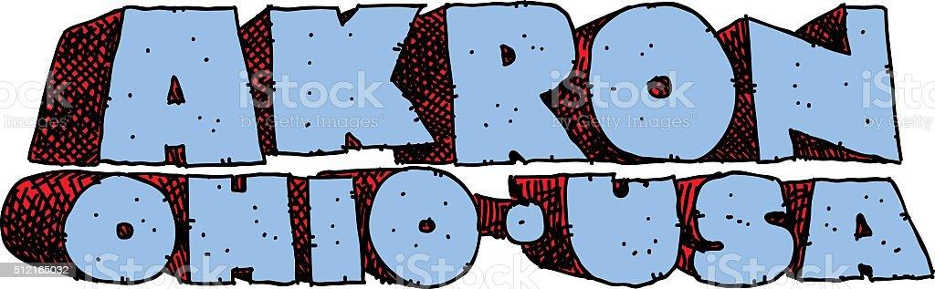 Akron Text vector art illustration