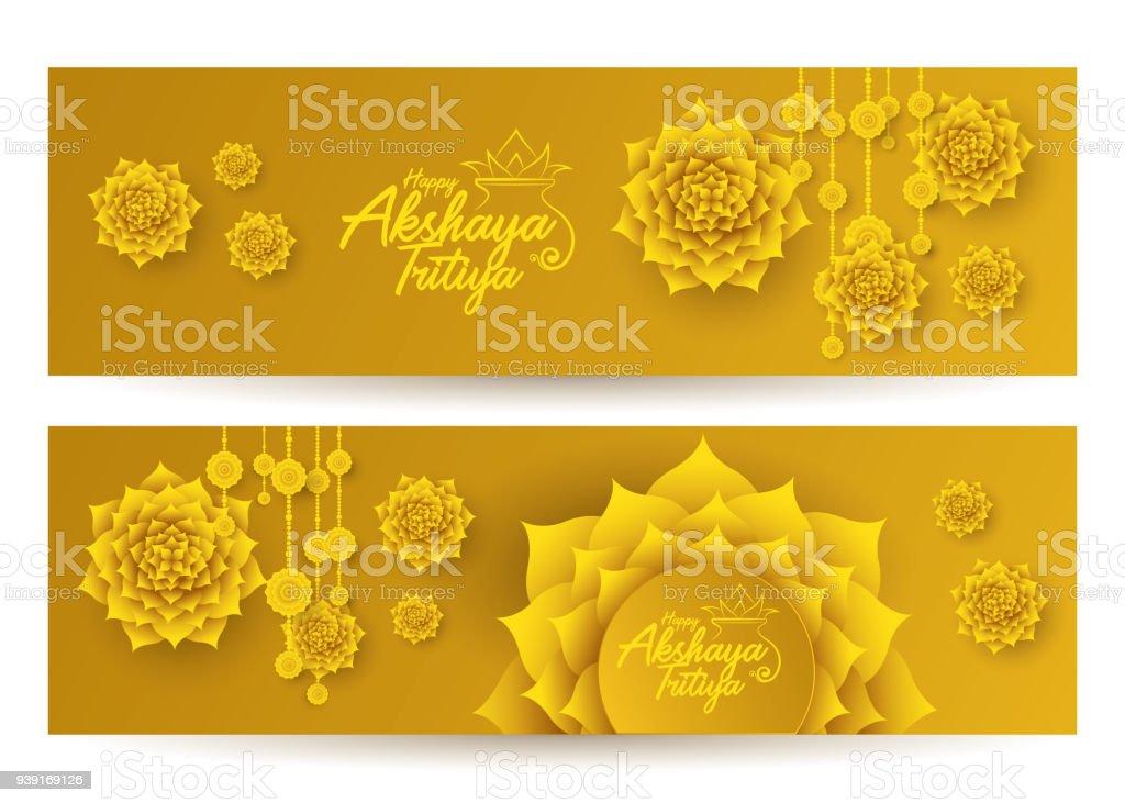 Akshaya Tritiya Festival Banner Design Background Stock Vector Art