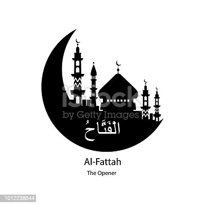 Al Fattah Allah name in Arabic writing against of mosque illustration. Arabic Calligraphy. The name of Allah or the Name of God in translation of meaning in English on white background