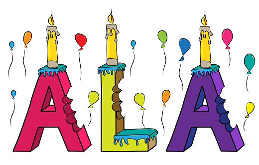 Ala female first name bitten colorful 3d lettering birthday cake with candles and balloons