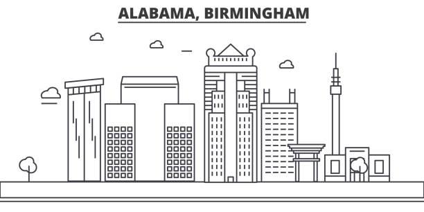 alabama, birmingham architecture line skyline illustration. linear vector cityscape with famous landmarks, city sights, design icons. landscape wtih editable strokes - alabama stock illustrations