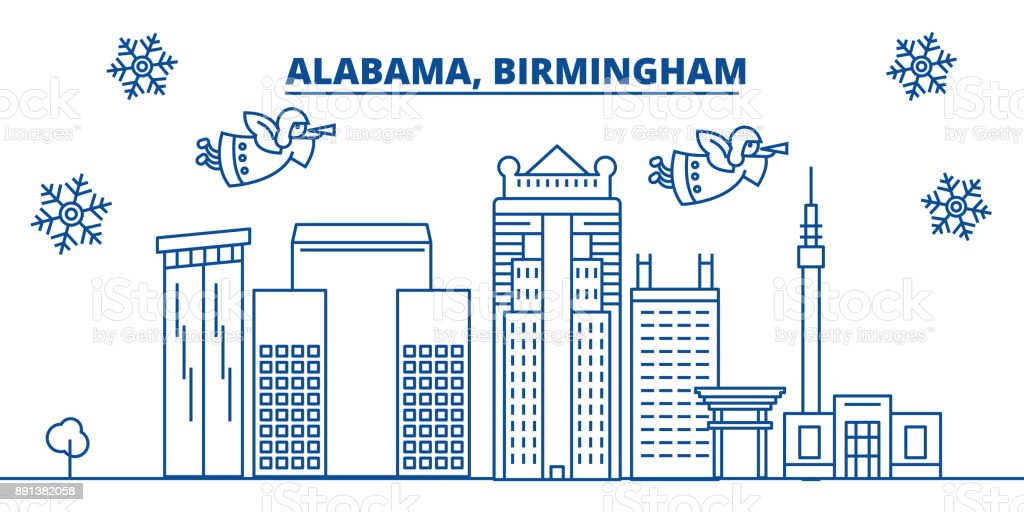 USA, Alabama, Birmingham winter city skyline. Merry Christmas and Happy New Year decorated banner. Winter greeting card with snow and Santa Claus. Flat, line vector. Linear christmas illustration vector art illustration