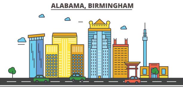 alabama, birmingham.city skyline, architecture, buildings, streets, silhouette, landscape, panorama, landmarks. editable strokes. flat design line vector illustration concept. isolated icons - alabama stock illustrations