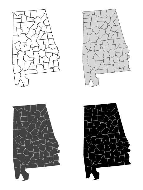 alabama county map (gray, black, white) - alabama stock illustrations