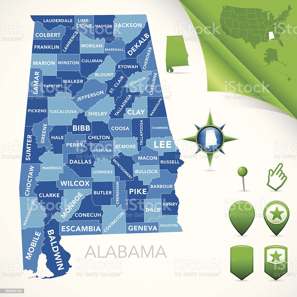 Alabama County Map Stock Vector Art & More Images of Alabama - US ...