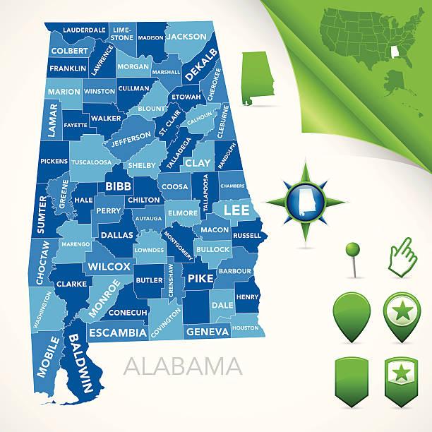 alabama hrabstwo mapy - alabama stock illustrations