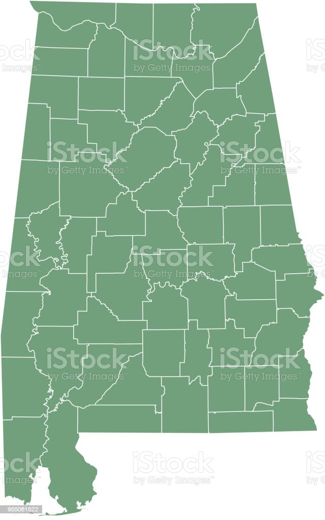 Alabama County Map Vector Outline Illustration Green Background ...
