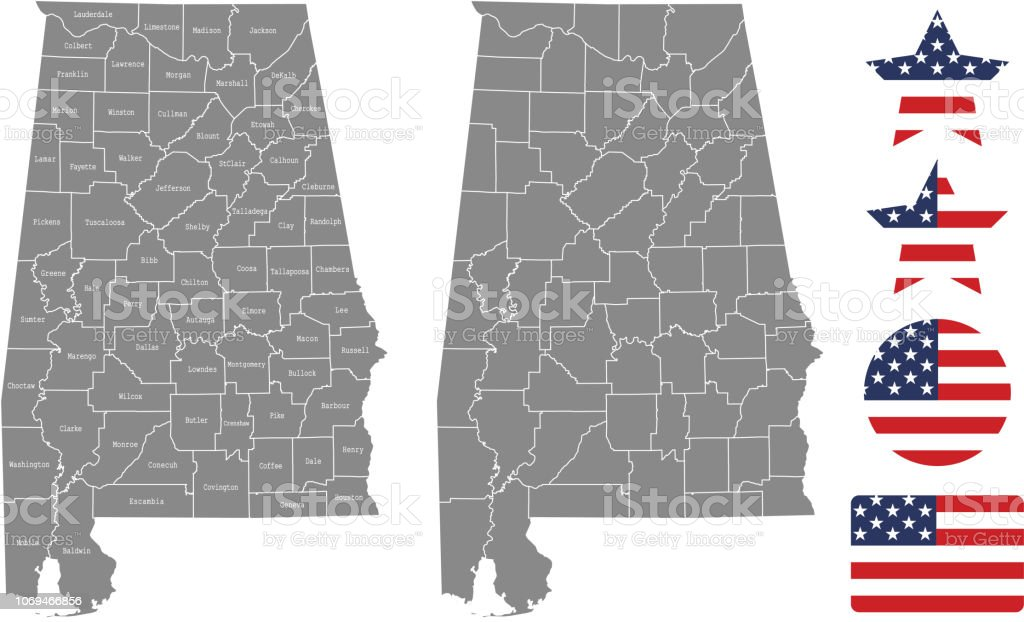 Alabama State Map By County.Alabama County Map Vector Outline In Gray Background Alabama State