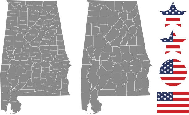 alabama county map vector outline in gray background. alabama state of usa map with counties names labeled and united states flag vector illustration designs - alabama stock illustrations