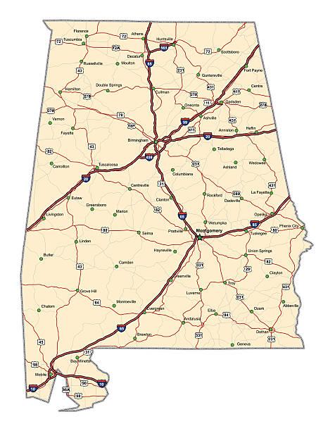 Alabama Highway Map vector art illustration
