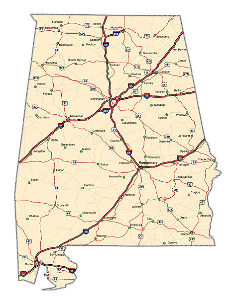 alabama autostrada mapy - alabama stock illustrations
