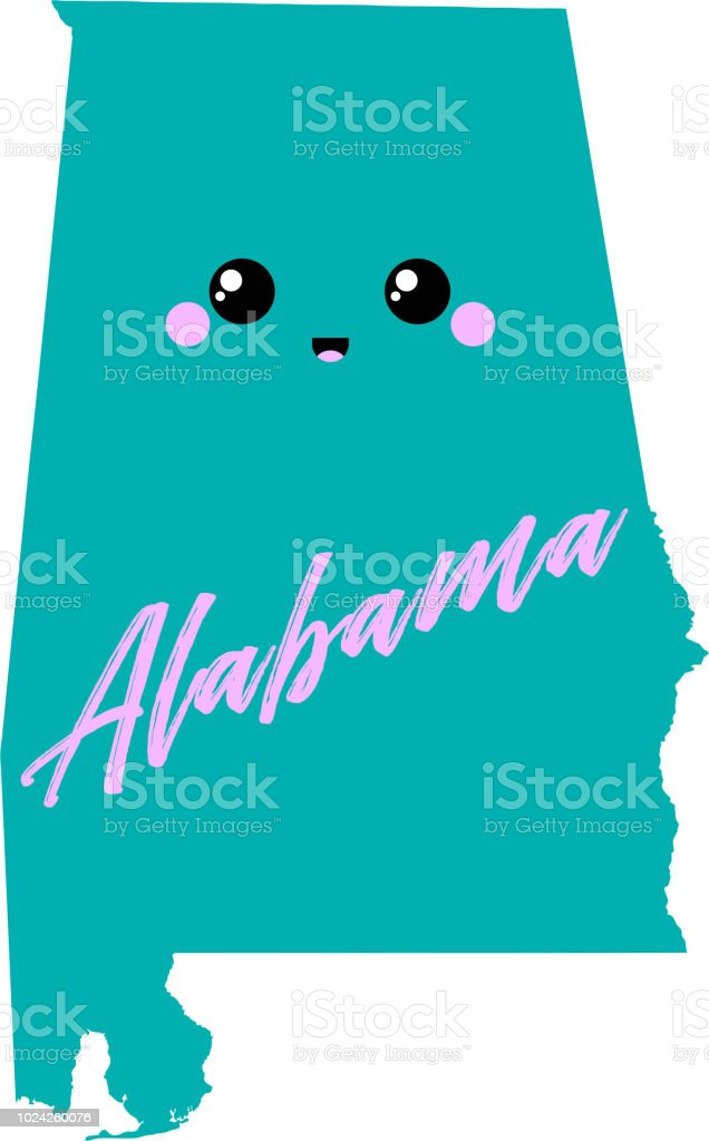 Cute Usa Map.Alabama Map Cute Vector Illustration Design Print For Tshirt Stock