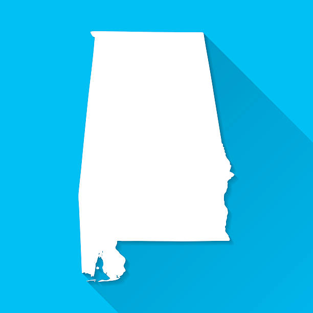 alabama map on blue background, long shadow, flat design - alabama 幅插畫檔、美工圖案、卡通及圖標