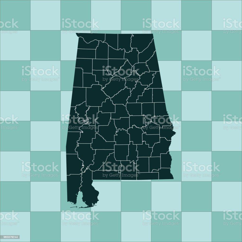 Alabama map - Grafika wektorowa royalty-free (Ameryka Północna)